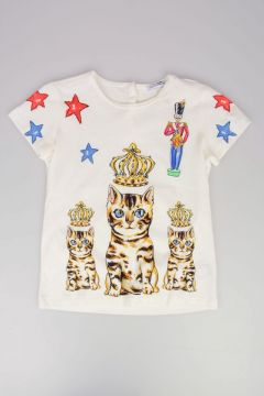 T-shirt Con Stampa Gatto