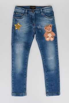 Teddy Bear and Star Embroidered Jeans