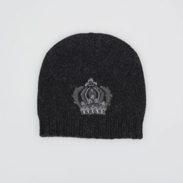 Embroidered Crown Beanie Hat