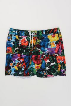 Tropical Print Stretch Cotton Skirt