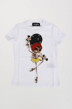 Printed Jersey T-Shirt with Embroideries & Rhinestones