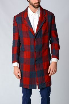Checked Wool Silk Coat