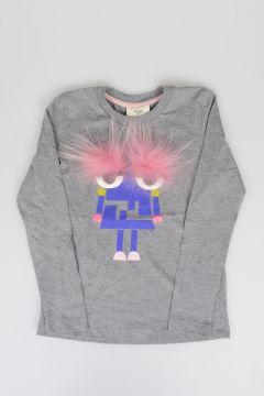 T-Shirt MOSTRO con Dettaglio in Pelliccia