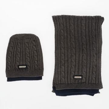 Ribbed Scarf and Beanie Hat Set