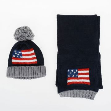 Embroidered USA FLAG Scarf and Beanie Hat Set