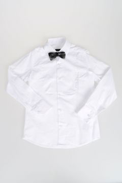Popeline Cotton Shirt with Bow Tie
