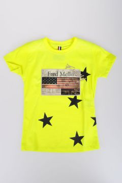 Cotton Fluo T-shirt with Embroidery