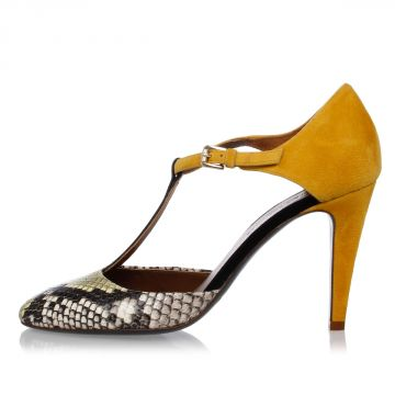 Leather GABRY Sandals With Python Details 8 cm