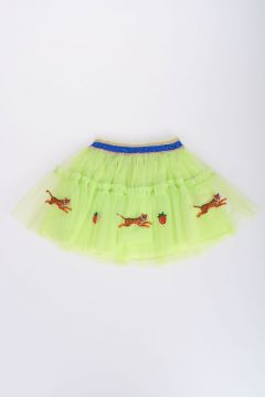 Tiger Strawberry Embroidery Tulle Mini Skirt