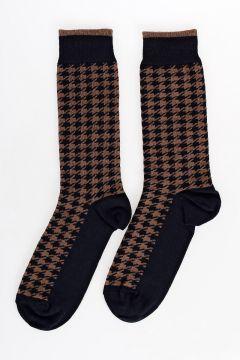 Cotton Blend Pied de Poule Socks