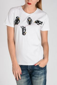 T-shirt BIRDS in Cotone Ricamato
