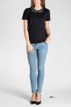 T-Shirt in Cotone con Colletto Ricamato