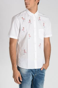 Pink Flamingo Embroidery Short sleeves shirt