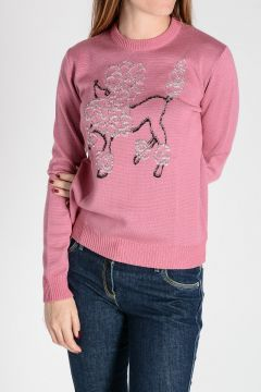 POODLE Embroidered Virgin Wool & Cotton Sweater