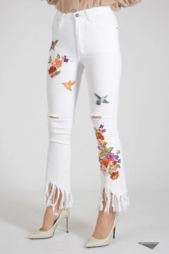 22cm Embroidered Jeans with Paillette