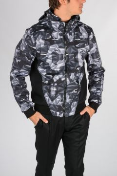 Geo Printed Nylon Cotton Jacket