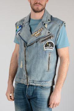 Denim Embroidered Sleeveless Jacket