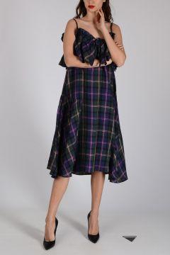 Linen Dress with Flounce