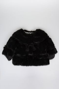 Faux Fur Jacket With Bow