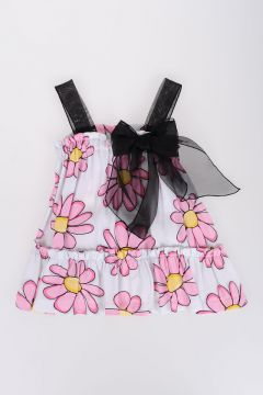 Crepe Top with Daisy and Bow