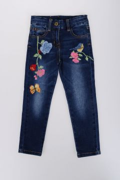 10cm Denim Stretch Jeans with Embroidery