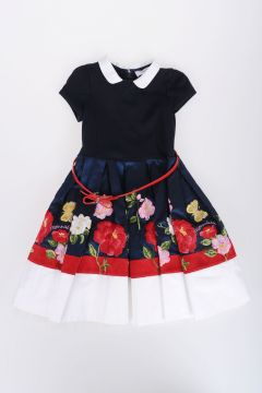 Dress with Tulle and Flowers Embroidery