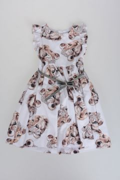 Dress with Tulle and Puppet Print
