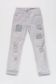 Stretch Cotton Pants with Paillette