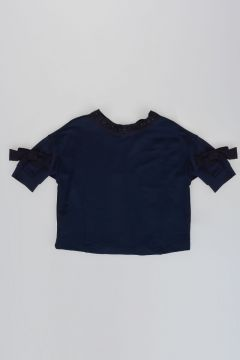 Short Sleeves Sweatshirt with Bow and Strass