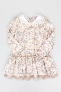 Dear Bear Printed Long Sleeves Dress