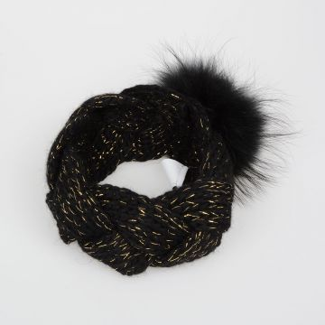 Wool Headband with Fur