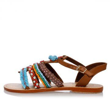 Sandalo in Pelle con Perline