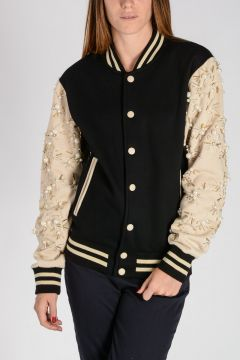 Embellished Cotton Blend Bomber Jacket