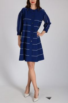 MIxed Cotton Striped Flared Dress