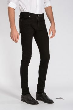Jeans in Denim Stretch con Dettaglio Catena 16 cm