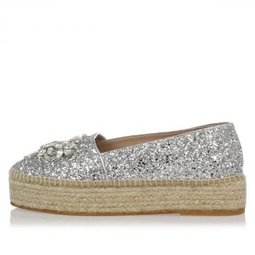 Glitter Platform Espadrillas with Jewel Embroidery