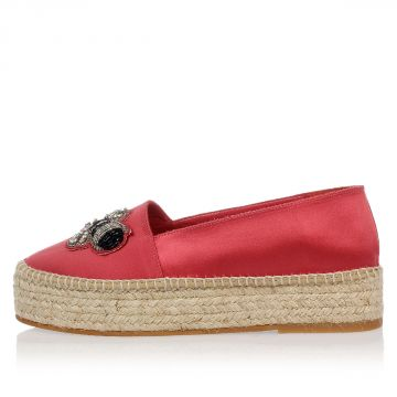 Fabric Platform Espadrillas with Jewel Embroidery