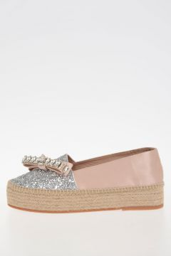 Satin Glittered Espadrillas With Bow and Strass