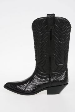 Leather SADDLE Boots with Python skin
