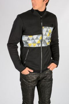 Felpa Full Zip con Fantasia