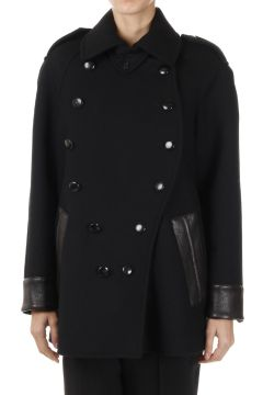 Virgin Wool peaCoat With Lamb Leather Details