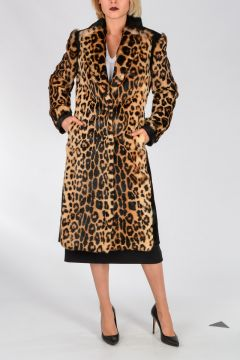 Leopard Printed Rabbit Fur Coat