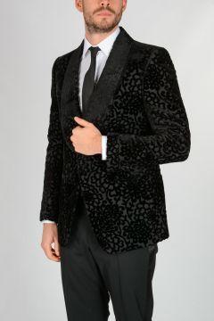 Tuxedo Blazer with Velvet Floral Pattern