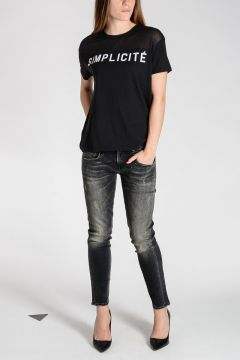 SIMPLICITE' T-Shirt with Sheer Details