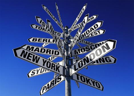 Travail etranger panneau villes. logo