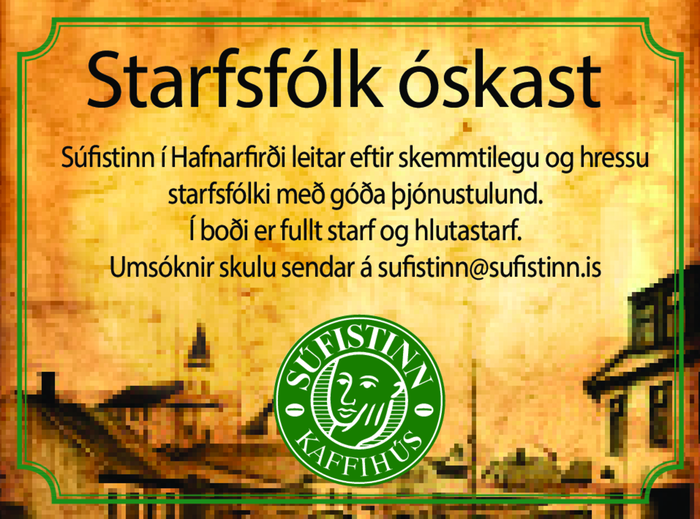 Starfsfólk óskast á kaffihús Súfistans