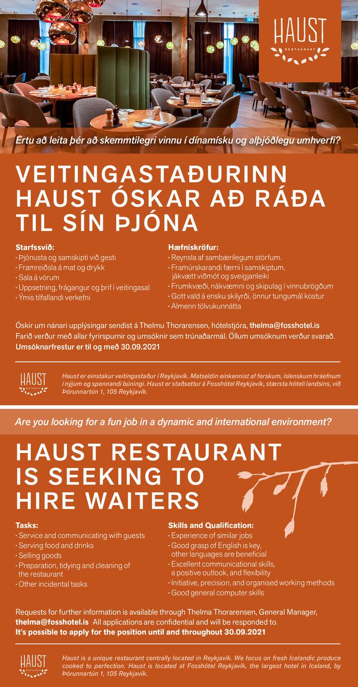Veitingastaðurinn Haust Þjónar - Haust Restaurant Waiters