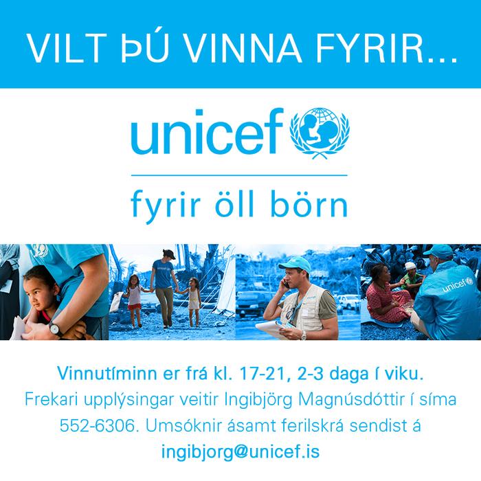 Hlutastarf hjá UNICEF á Íslandi
