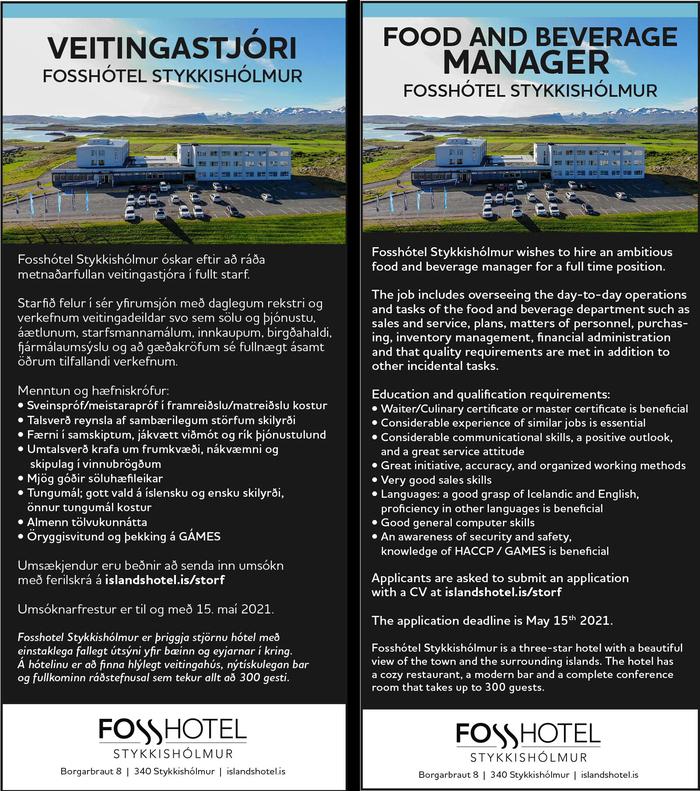 Veitingastjóri / Food & Beverages Manager - Fosshótel Stykkishólmur