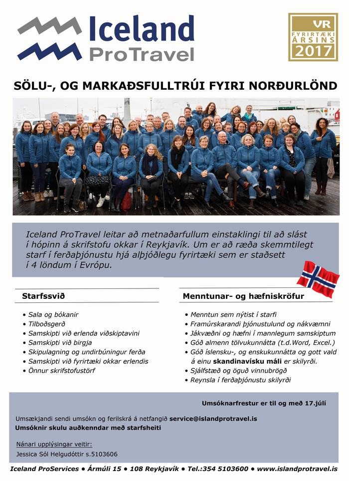 Sölu-, og markaðsfulltrúi fyrir Norðurlönd